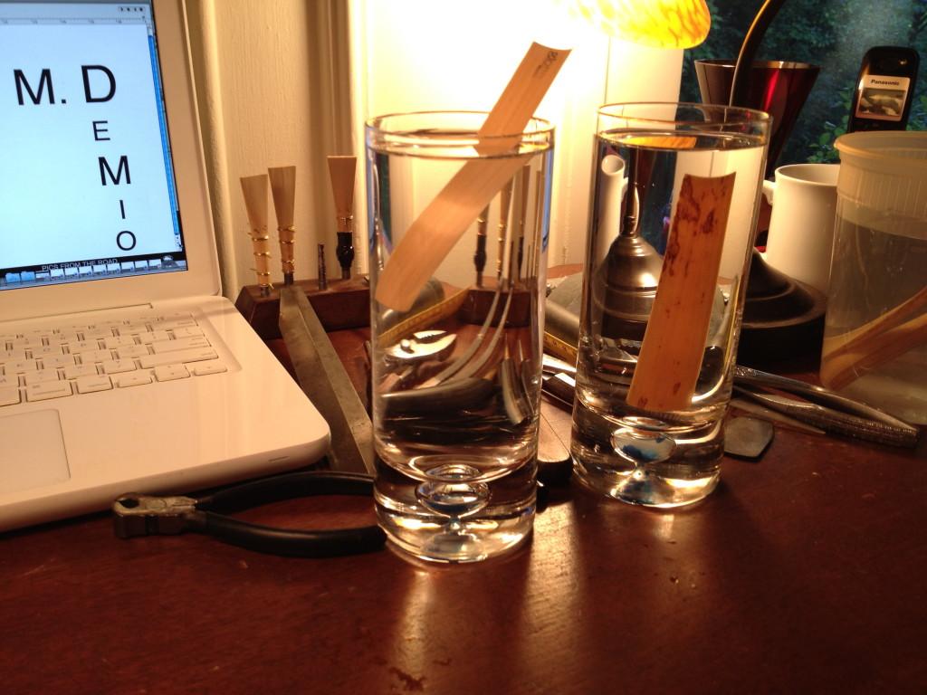 bassoon reeds soaking.